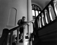 1974 Library: Student on Stairs