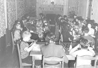 1943 Fifth Graders at Lunch In the Dining Room at Christmas Time