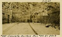 Lower Baker River dam construction 1925-04-27 Concrete Surface Run #86 El.251.3