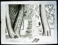 Watercolor of cemetery scene showing gravestone of James (Jimmy) Tilton Picket