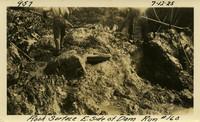 Lower Baker River dam construction 1925-07-12 Rock Surface E. Side of Dam Run #160