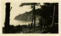 View through trees of beach and rocky bluff surrounding