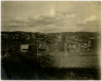Easterly view of Harris Avenue at intersection with railroad tracks, Fairhaven, Bellingham, WA