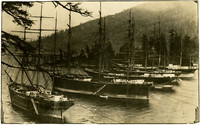 Five moored sailing vessels in Chuckanut bay