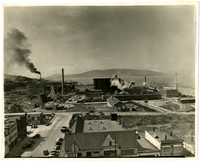 Industrial waterfront of Bellingham with pulp and lumber mills and smoke stacks