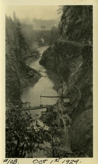 Lower Baker River dam construction 1924-10-01 View of canyon