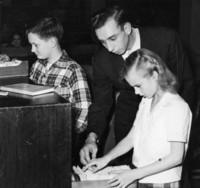 1946 Sixth Grade Students With Norman Dahl, Student Teacher