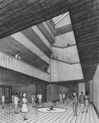 1965 Bond Hall: Architect's Drawing