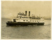 """Automobile ferry """"City of Bellingham"""" with dock in distance"""