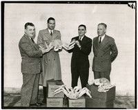 Fred Wolfe, Phil Campbell, Pitt Smith, Victor Hoppe with king crab