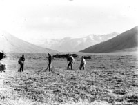 Four men in a large valley