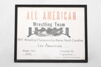 Wrestling (Men's) Photograph: All American Wrestling Team Championship, Boone, North Dakota, Lee Anderson, 1971