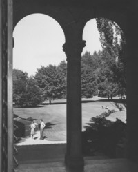 1947 Library: Entrance and Lawn