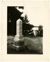 British Camp, San Juan Island - Burial monument overlooking water through trees