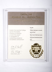Track and Field (Men's) Plaque: Academic All-American Team, Eric Brill, 2012