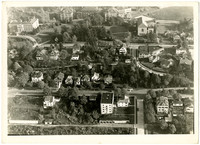 Aerial view of Western Washington State College with Garden and High streets at center, Old Main, Wilson Library at top