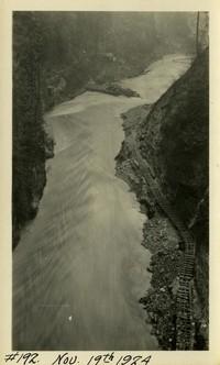 Lower Baker River dam construction 1924-11-19 Railroad trestle along river