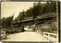 Steam engine pulls logging flatbeds across overpass spanning a dirt road