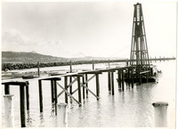 A pile driver in Bellingham Bay