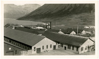 Rooftop view of approximately ten long, rectangular industrial buildings at edge of bay with mountains surrounding, likely King Cove, AK