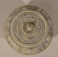 Sawankhalok ware lidded box; octagonal; iron black blades