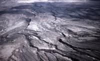 Channeled debris flow seen from the air.