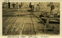 Lower Baker River dam construction 1925-07-09 Reinforcing Steel 4th Floor