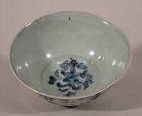 Bowl with under glaze bluye design of peony scrolls