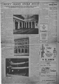 """Copy of Bellingham Herald article on """"Beck's Grand Opera House"""" from January 25, 1904."""