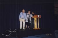 2007 Reunion--Jim Hildebrand, WWU President Karen Morse and Joel Connelly Onstage at the Banquet