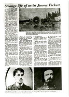 "Photocopy of article on life of Jimmy Pickett with photographs of Jimmy and General George Pickett, and one of his paintings ""Arcadia Point"