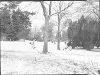 1946 Campus School Junior High Students Throwing Snowballs