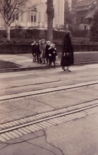 1934 Pattison Twins Waiting For The Street Car on Garden Street