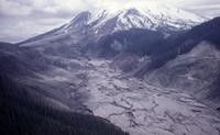 Aerial view of South Fork of Toutle River, mountain in background.