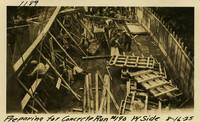 Lower Baker River dam construction 1925-08-16 Preparing for Concrete Run #190 W. Side