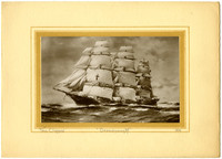 """Cardstock Christmas card with drawing of large  five-masted tea clipper """"Dreadnaught"""""""