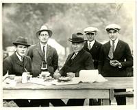 Five men, including Julius Bloedel, possibly at the Bloedel Donovan picnic at Birch Bay