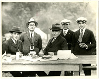 Five men, including Julius Bloedel, possibly at the Bloedel Donovan picnic at Birch Bay