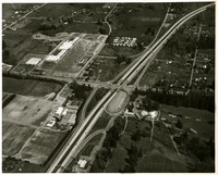 Aerial view where I-5 runs from top right to bottom left of photo.