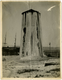 Water tower at E.K. Woods Lumber Mill is nearly encased in frozen cascades of water