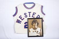 Basketball (Women's) Jersey: #20, Jo Metzger, photograph, list of accomplishments, 1978/1981