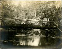 Three women stand on log bridge spanning Whatcom Creek