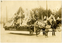 Horse-drawn parade float of the MacAbees Club
