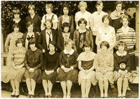 Fairhaven High School girls pose in three rows for photograph
