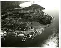 Aerial view of Edgemoor neighborhood and Fairhaven district of Bellingham, Washington, along Bellingham Bay