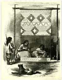Pen and ink drawing of two Native American women loom-weaving a rug, with child and dog nearby