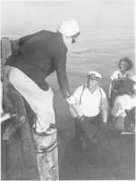 Woman Getting on a Boat