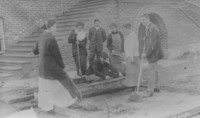 1920 Students Working with Concrete