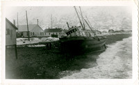 Cannery tender 'Karluk' driven ashore during strom at Karluk, Alaska, with houses in background, summer of 1899