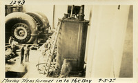Lower Baker River dam construction 1925-09-05 Moving Transformer into the Bay